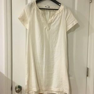 J. Crew Linen Dress with Soft Metallic Neck Line